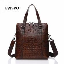 Brand Crocodile Men Briefcase Genuine Leather Business Bag 12″ Leather Laptop Shoulder Bag Men's Messenger Travel Bags EVISPO