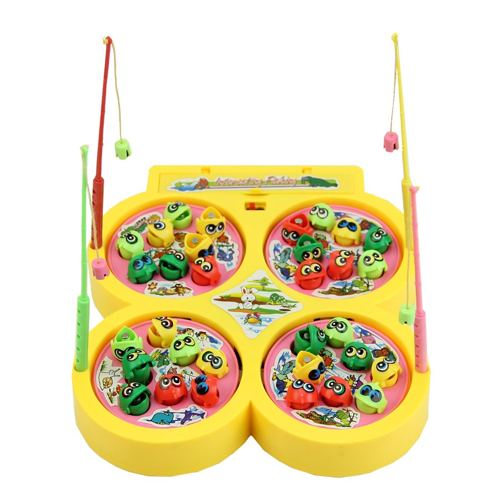 Желтый идти Рыбалка игры Электрический вращающегося магнитного магнит рыбы игрушки малыша развивающие Игрушечные лошадки