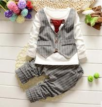 2019 Spring Toddler Boys Set Party Clothing 2PCS Necktie Waistcoat Gentleman Outfits 0 1 2 3 4 Years Autumn QHQ009