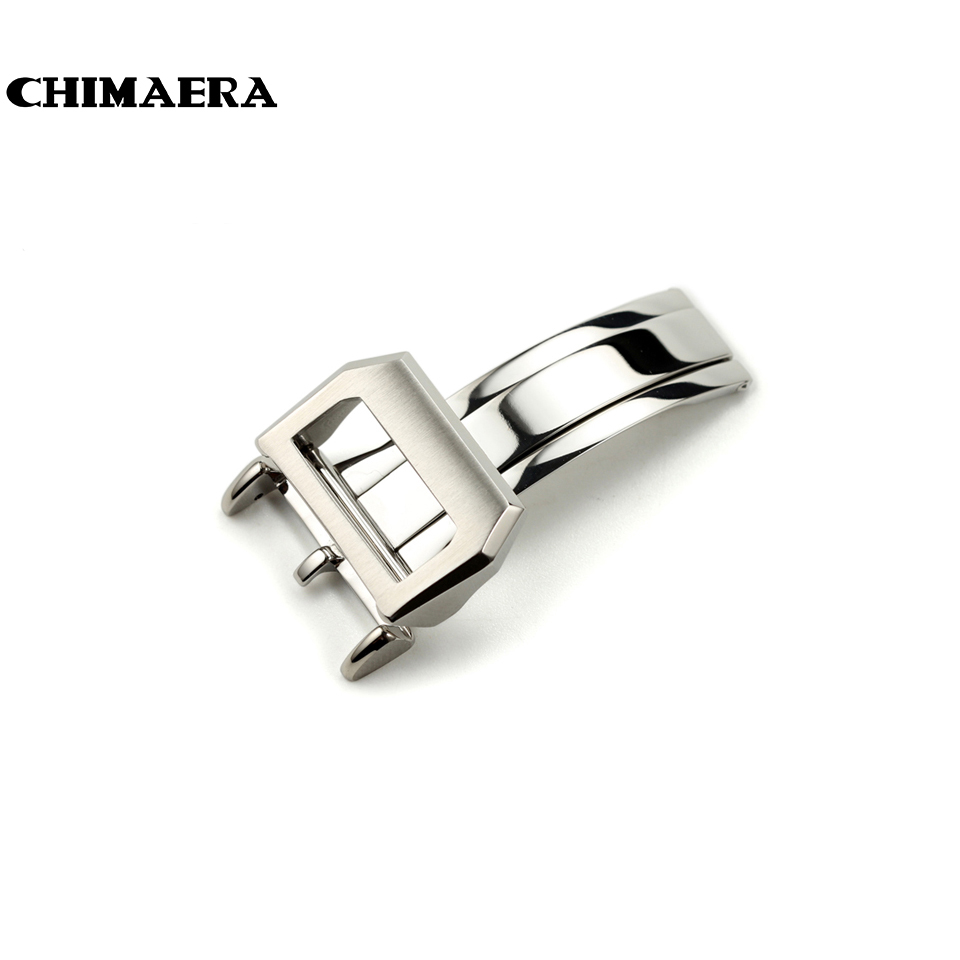 ФОТО Top quality 316L Stainless Steel Watch Band Butterfly Brushed Folding Buckle 18mm Deployment Clasp For IWC Big Pilot Free ship
