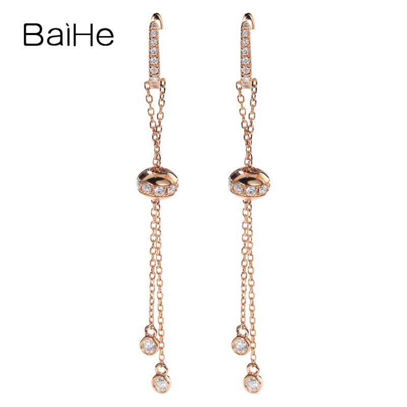 BAIHE Solid 18K Rose Gold 0.46ct H/SI Round 100% Genuine Natural Diamonds Engagement Trendy Jewelry Elegant Unique Gift Ear wire