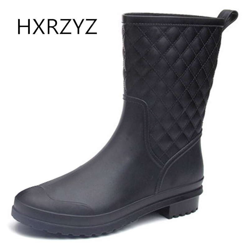 HXRZYZ women rain boots female black rubber ankle boots spring and autumn new fashion Slip-Resistant waterproof shoes women large size spring autumn fashion shoes women rain boots female elastic band slip resistant ankle boots waterproof rubber boots
