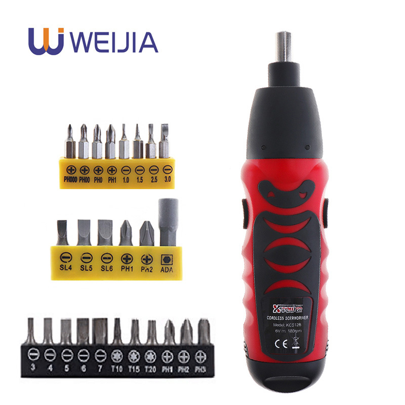 Mini Electric Screwdriver Battery Operated Cordless Screw Driver Drill Tool Set Bidirectional Switch With 11pcs or 14pcs Screws-in Electric Screwdrivers from Tools on