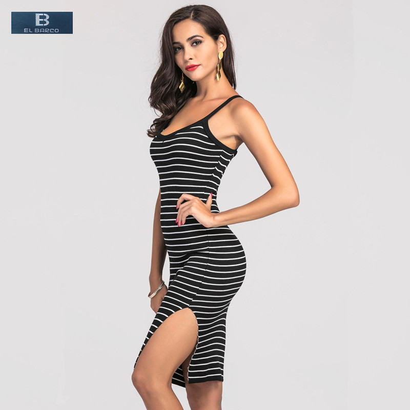 [EL BARCO] 2017 New Cotton <font><b>Long</b></font> Stripe <font><b>Sexy</b></font> Summer <font><b>Dress</b></font> <font><b>Women</b></font> Pencil Vestido Sleeveless <font><b>Bodycon</b></font> <font><b>Black</b></font> Gray Tank Tops Club <font><b>Dress</b></font> image