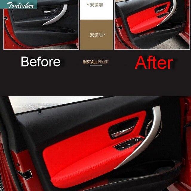Tonlinker 8pcs Car Pu Leather Door Panel Armrests Protective Sleeve