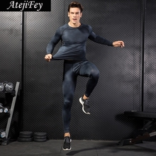 AtejiFey 2018 Hot Running set Workout Gym Tracksuits Sport Fitness Quick Dry Mens Tight Men Clothing Suit Compression Sportwear
