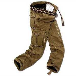 Image 4 - 29 40 calças de carga dos homens do tamanho grande inverno calças quentes grossas comprimento total multi bolso casual militar baggy tático
