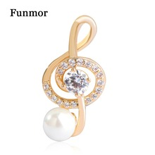 Funmor CZ Zircon Music Note Brooches Simple Style Simulated Pearl Small Brooch Hijab Pins Collar Clip