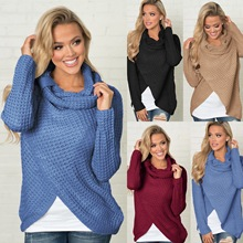 2019  winter and autumn cute button knit woman sweater classical turtleneck pullover solid casual female hot sales