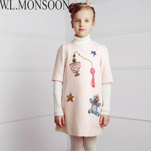 W. L. מונסון בנות להתלבש ילדי שמלת נסיכת בגדי 2017 ילדי חורף מותג Chrismtams Vestidos שמלות לילדות בגדים