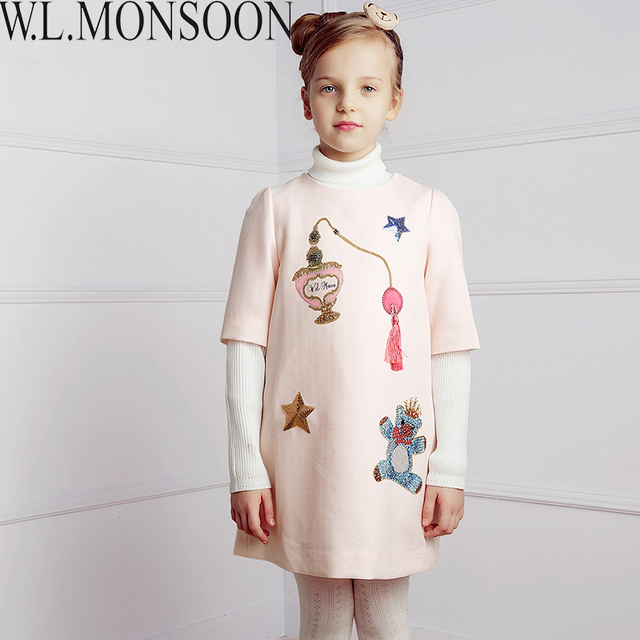 W.L.MONSOON Girls Dress Vestidos 2017 Brand Winter Children Chrismtams Dress Kids Clothes Princess Dresses for Girls Clothing