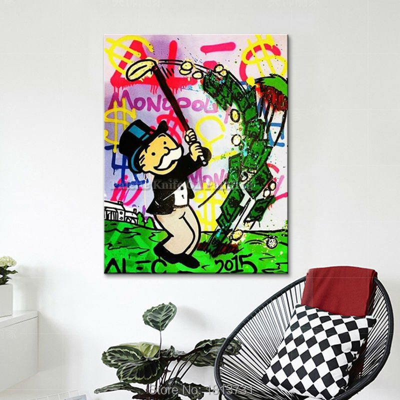 Alec Graffiti canvas oil Painting pop art street art money art Acrylic Painting Wall art wall picture for living room Home Decor