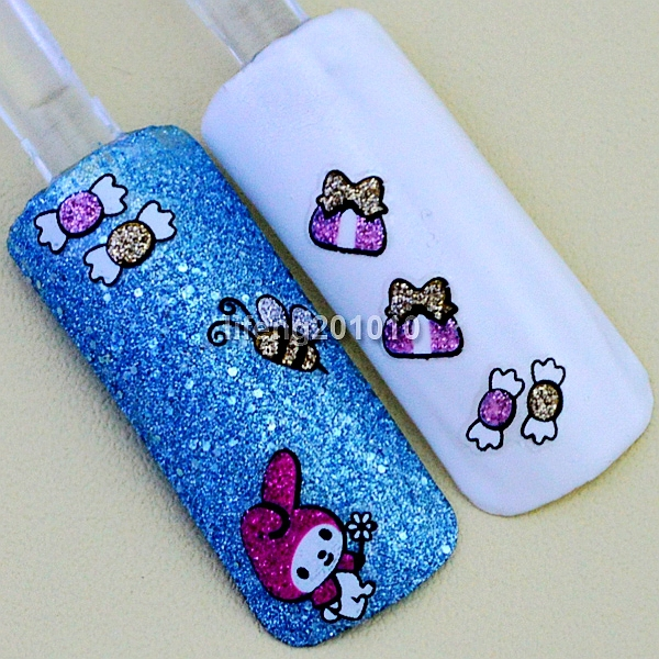 2 Sheets Cute 3d Nail Art Glitter Stickers Decals For Nail Tips
