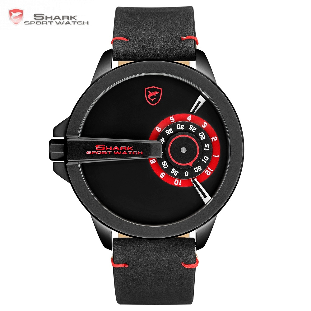SHARK Sport Watch Brand Turntable Dial Black Red Design Quartz Crazy Horse Leather Strap Military Men's Creative Watches /SH563 greenland shark 2 series sport watch new design red date crazy horse leather quartz clock men watches reloj hombre gift sh454