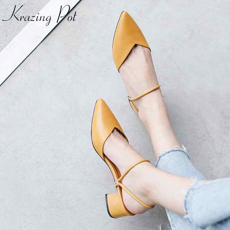 Krazing Pot 2019 genuine leather shallow slip on pointed toe women pumps med heel beige yellow