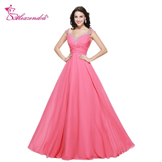 7a647f7036 US $120.6 10% OFF|Alexzendra A Line Beaded Sweetheart Chiffon Long Prom  Dresses Off the Shoulder Long Evening Gowns Party Dress Plus Size-in Prom  ...