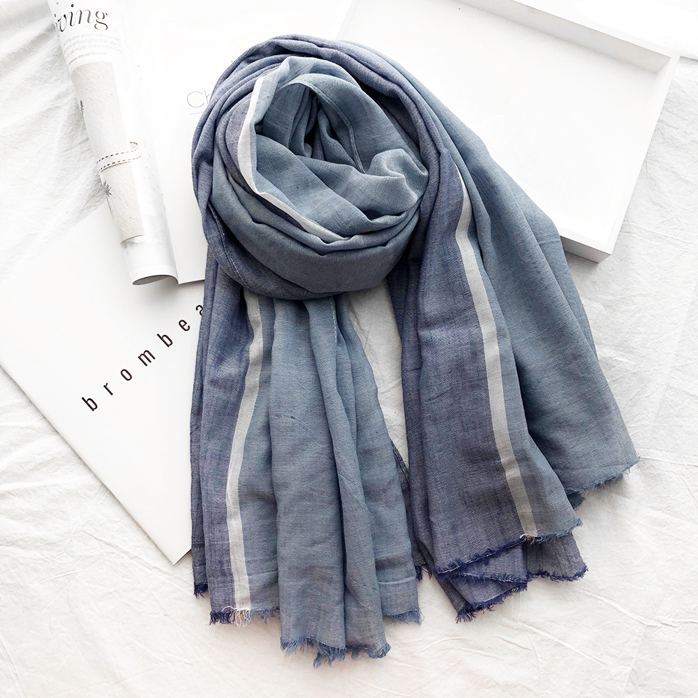 Winter Scarf Cotton Shawl Japanese Soft Blue-Striped Fashion Long Men Splice-Color Unisex-Style