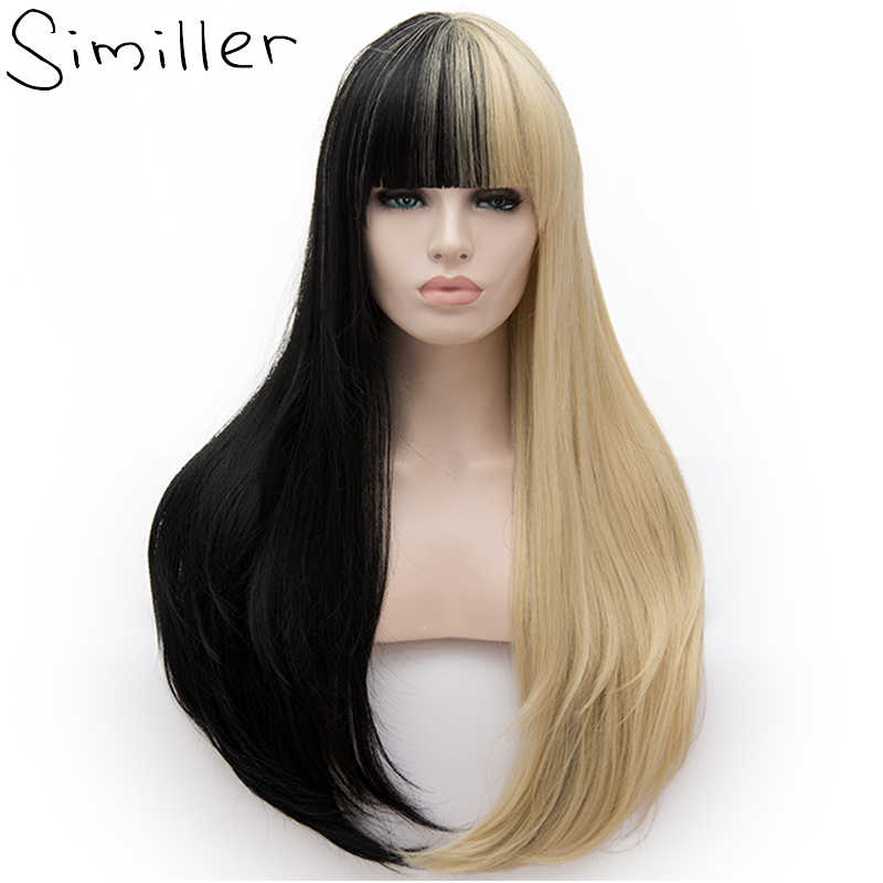 Similler Women Long Synthetic Wigs Patchwork Black Gold Straight Ombre Hair For Halloween Cosplay 2 Tones