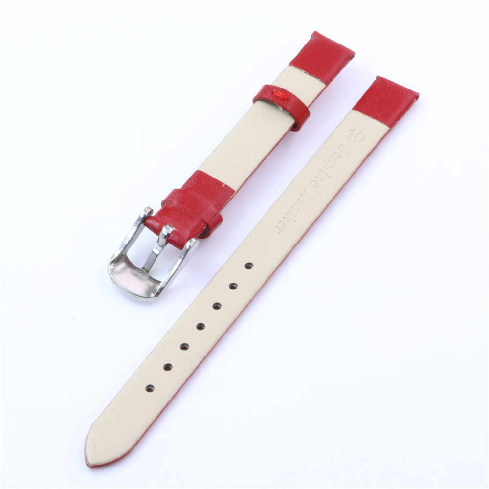 Top Quality Women Girls Soft Plain Matte Genuine Leather Watchbands Many Colors Watch Band 10mm Silver Pin Buckle Strap - Y168