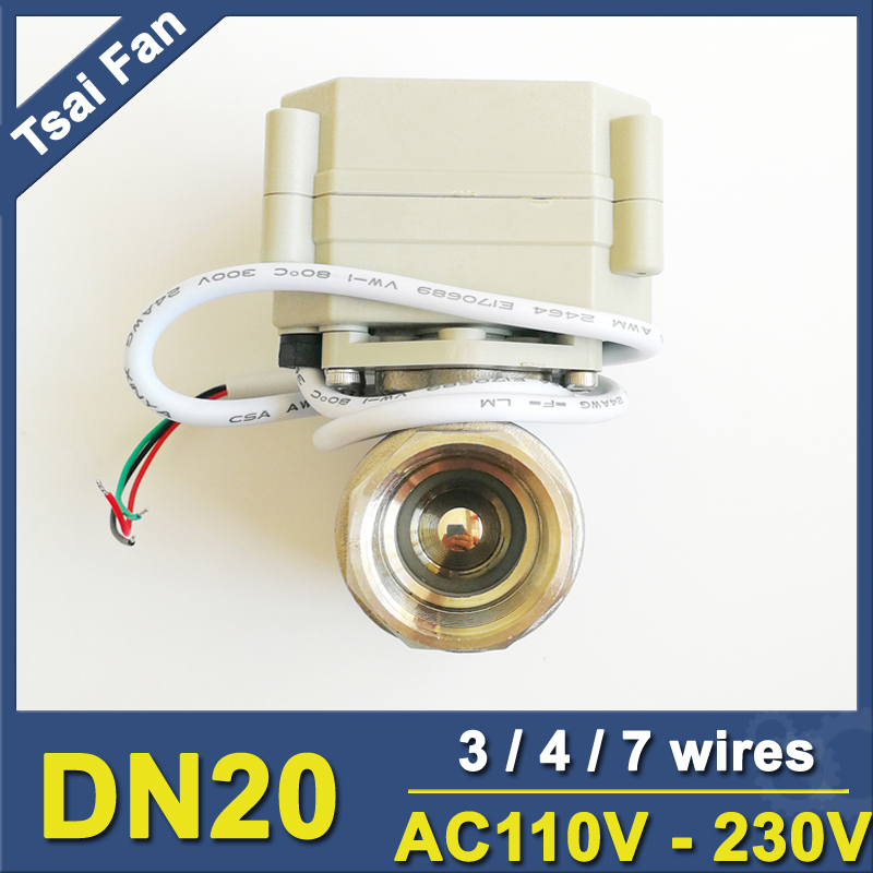 AC110V 230V 3 4 7 Wires Stainless Steel 3 4 Electric Motorized Ball Valve With Indicator