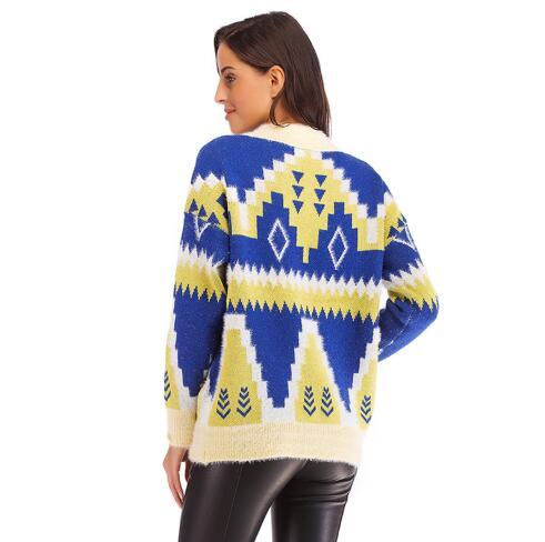 Blue 2018 brown Manteaux Style Lâche Long Femmes Femme Mode Nouveaux Tricoté Vêtements Chandail Casual Longues Hiver À Pull Manches 4Twwx