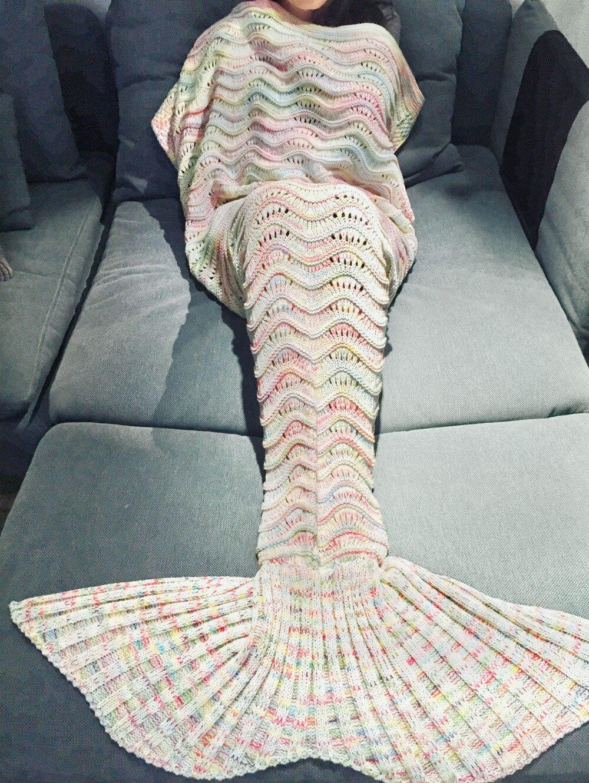 Neue 2017 185x90 cm Geschenk Meerjungfrau Decke Muster Crochet ...