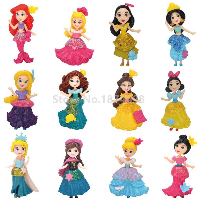 New Rapunzel Snow White Little Mermaid Cinderella Belle Tiana Merida Figure Toy Doll Set of 12 Kids Girls Gifts Принцесса Жасмин