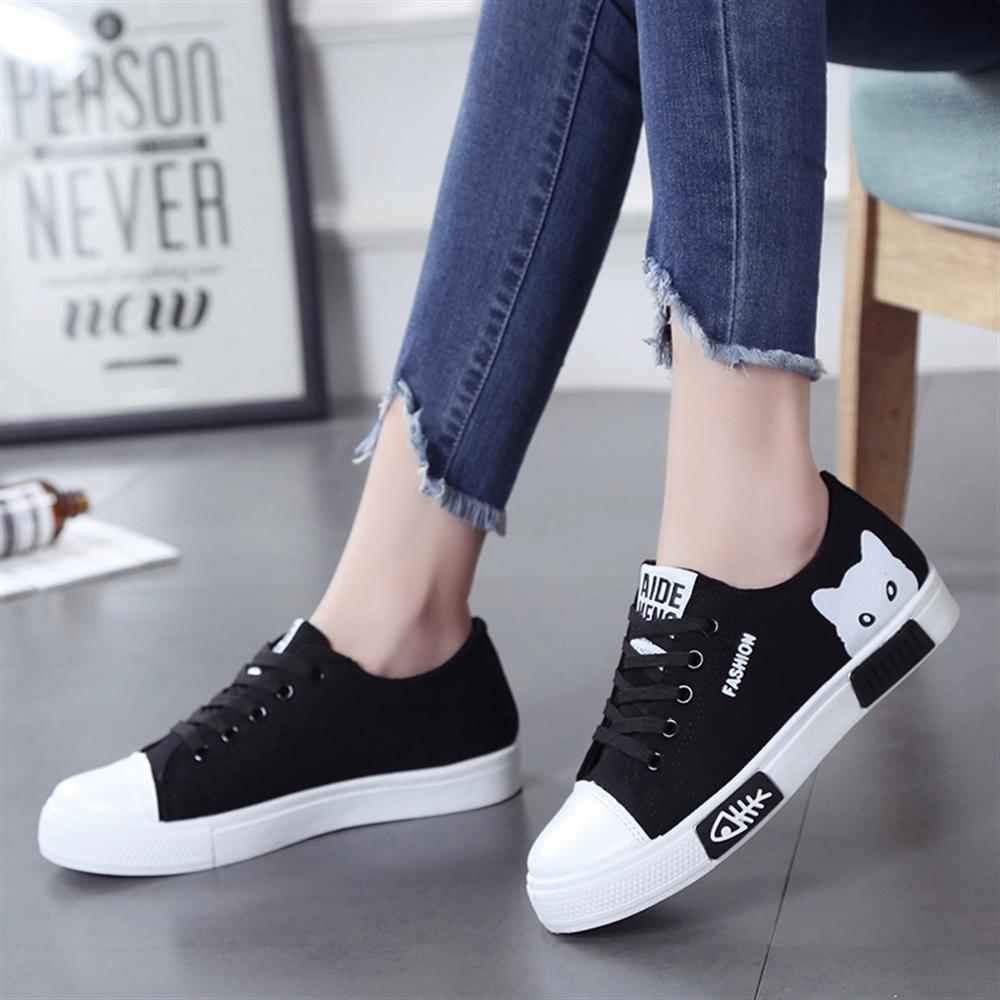 Spring Fall 2018 New Shoes Women Flats Lace-up Casual Canvas Shoes Women Breathable White Platform tenis feminino new england fans printed canvas shoes color lace up women casual flats custom patriotic letter luminous tenis shoes espadrilles