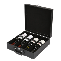 High Quality Red Wine Carrier Gift Packing Box Four Bottles With Leather Tote Black Wine Bags Packaging Boxes Business Gifts Box