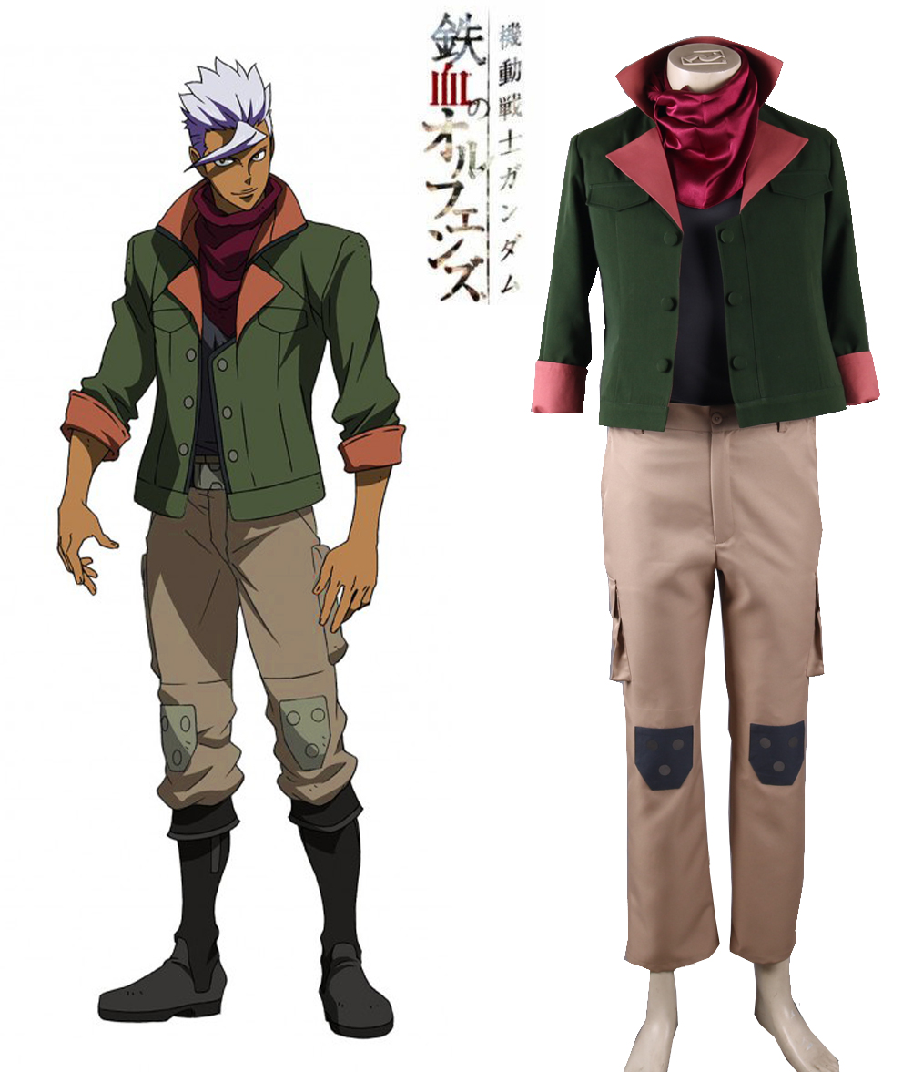 Free Shipping Mobile Suit Gundam: Iron-Blooded Orphans Tekkadan Iron Flower Orga Itsuka Leader Uniform Anime Cosplay Costume