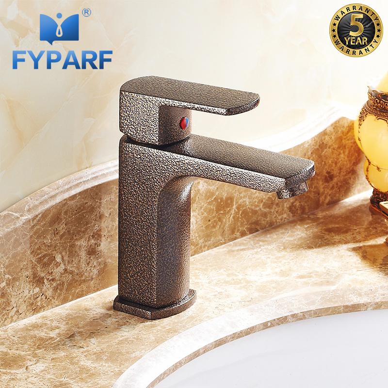 FYPARF Bathroom Basin Faucets Elegant Sink Faucet Hot and Cold Water Basin Mixer Tap Brown Bronze Brass Toilet Sink Water Crane 4 style bathroom jade basin faucet golden brass toilet basin faucet cold and hot antique european sink faucets water mixer tap