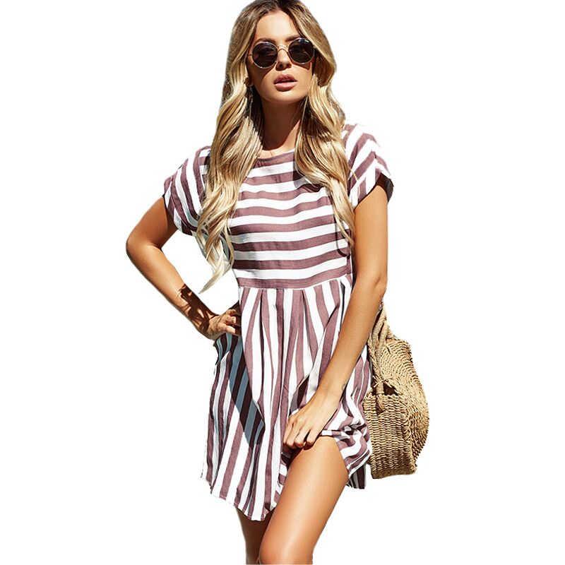 Lossky женское летнее пляжное платье А-силуэта в полоску с коротким рукавом с круглым вырезом и принтом Платья повседневные розовые мини-платья 2019 сексуальный сарафан