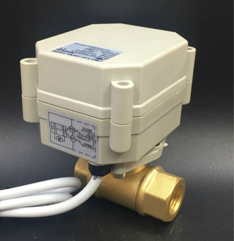 TF8-B2-A, 3 Wires 2 Way Brass 1/4'' (DN8) Electric Motorized Valve Metal Gear AC/DC9V-24V On/Off 5 Sec For Water Application