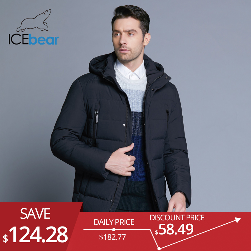 Icebear New Winter Men's Jacket With High Quality Fabric Detachable Hat For Male's Warm Coat Simple Mens Coat Mwd18945d