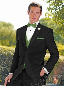 Free Shipping 4 Pieces Black New Fashion Mens Bridegroon Business Dress 2 buttons wedding suit for men New designs groom Dresses