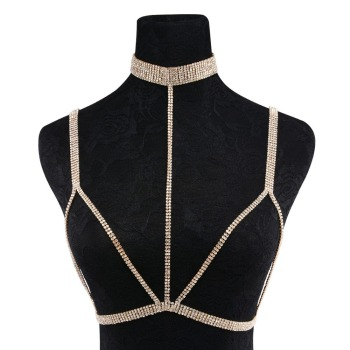 Rhinestone Multilayer Rows Crystal Bra Chain7