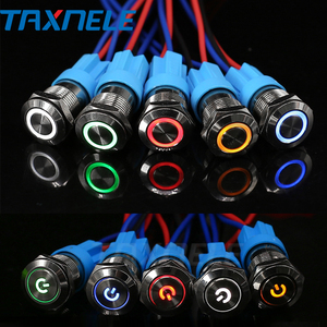 12mm LED Light Metal Push Button Switch 5 Colors 4 Pin annular Car power signal Power Button Switch 3V 6V 12V 24V 220V