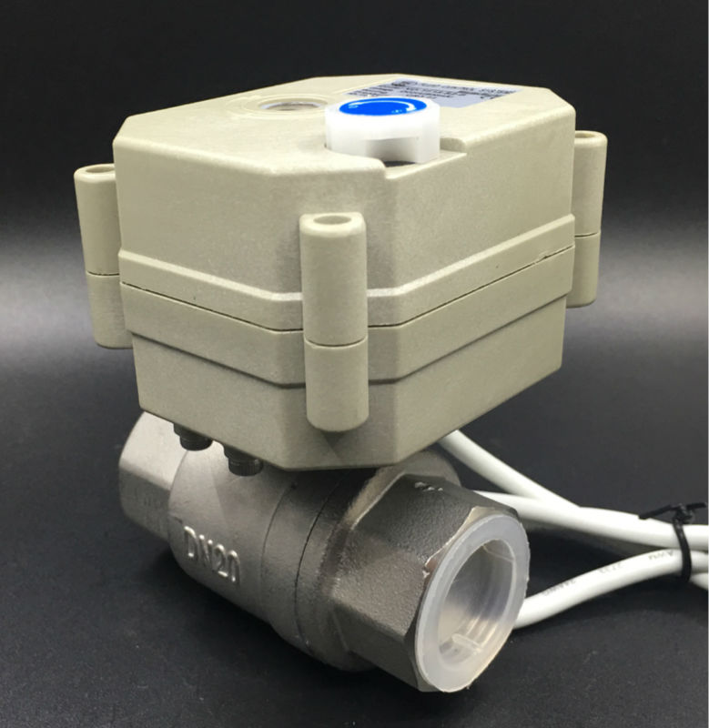Brand Actuator Valve TF20 S2 B 2 Way SS304 3/4'' DN20 Electric Shut Off Valve With Manual Override DC9V 35V 3/7 Wires Metal Gear