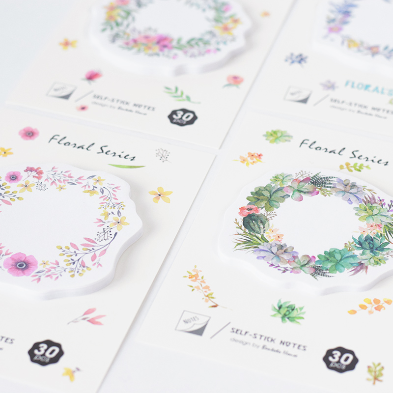 30 Sheets/pack Korean Flowers Loop Sticky Notes Geometric Stickers Planner Post it Memo Pad Bookmarks DIY  School Supplies 1000 label self adhesive sticky a4 sheets address labels inkjet laser copier printer ebay amazon sticky address post pack paper