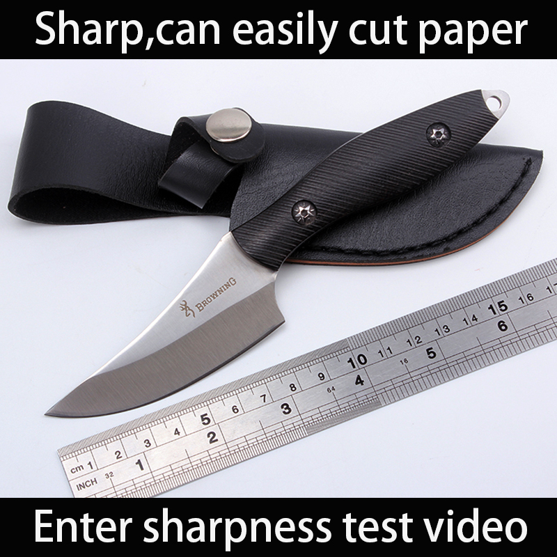 Sharp Browning Handmade hunting font b knife b font 7cr13 steel Ebony Wood handle Camping font