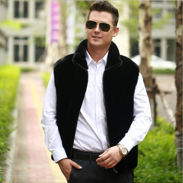 2015 new men winter warm faux fur vest Fashion black mandarin collar fur vest jacket Mink fur luxurious zipper fur waistcoat