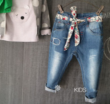 2017 New Girls Flower-belt Denim Jeans Baby Girls Casual Jeans Kids Spring Autumn Jeans Child Long Pants