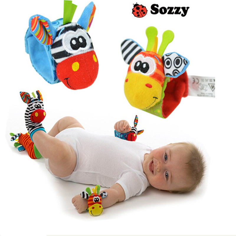 Soft Baby Toy Wrist Strap Socks Cute Cartoon Garden Bug Plush Rattle With Ring Bell 0M+ Educational Toys Sozzy