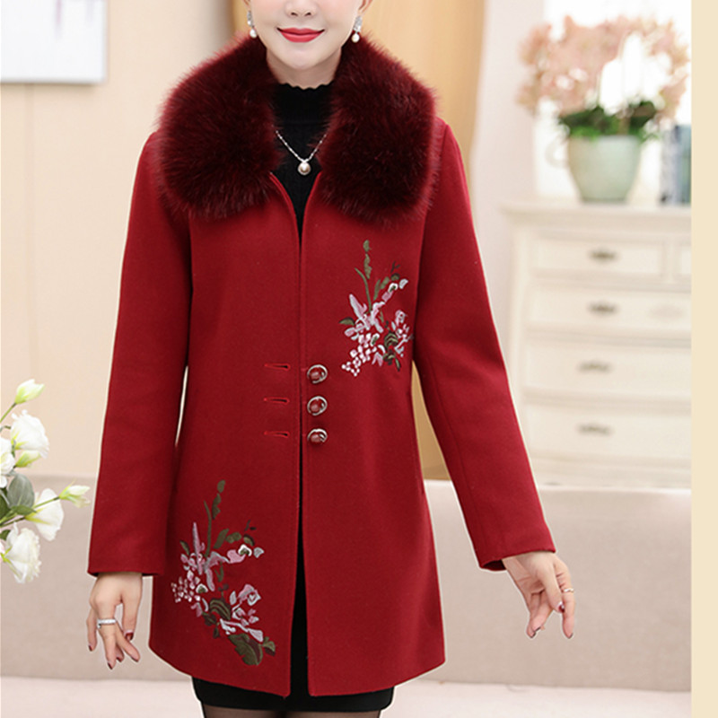 D'âge Hiver Gray red Broderie Yummycook Single A157 Vêtements Femmes Col light Épaississement breasted Laine Lâche Moyen Veste Purple De Fourrure dark Automne Purple wUUqET