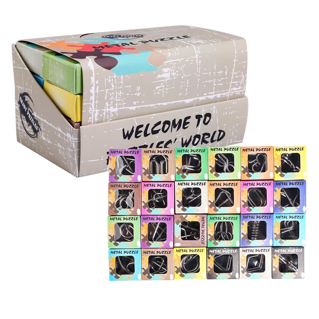 UTOYSLAND 24 teile/satz Metall Draht Puzzles IQ Gehirn Teaser Klassischen Intellektuelles Spielzeug für Kinder Erwachsene