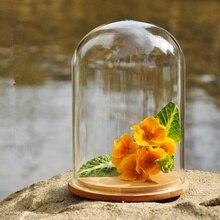 Naturel Préservé En Verre Dôme cap avec Base En Bois Décor À La Maison de mariage décoration fleur vase cadeau inférieur vases En Verre dôme cap nouveau