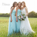 Teal Bridesmaid Dresses for Weddings 2016 Lace Wedding Party Dresses Gowns Pleated Vestdio de Madrinha Bestidos Mujer Tulle