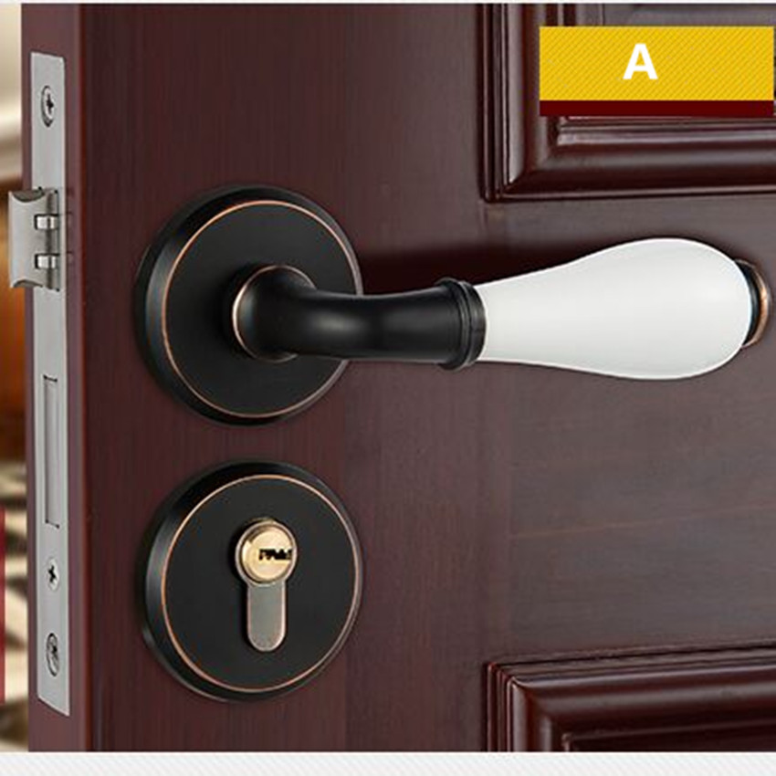 black antique copper Split mechanical interior door lock retro bathroom bedroom kitchen solid wood door ceramic handle locks free shipping bedroom bathroom kitchen door lock antique copper finished lock 35 45mm door thickness double bolts