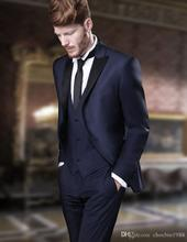 Fashionable Two Button Navy Blue Groom Tuxedos Groomsmen Men's Wedding Prom Suits Bridegroom (Jacket+Pants+Vest+Tie) K:782