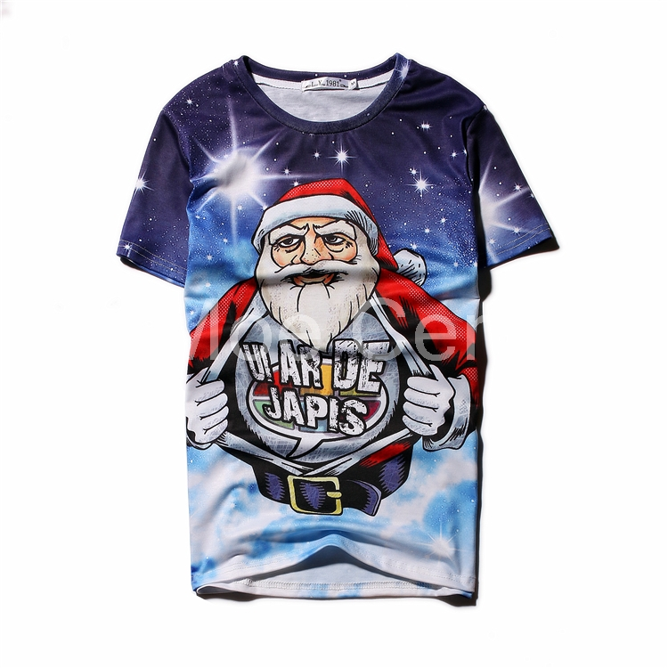 Fashion Santa Claus 3D Print T Shirt 2018 Novelty Christmas Series Stars Design T Shirt Women Men Tops Best Christmas Gift L14-3